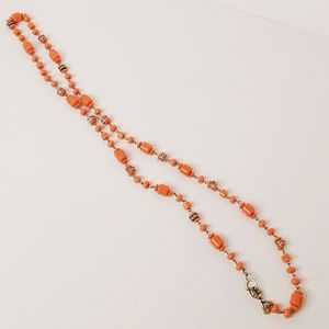 J Crew Orange Beaded Necklace A Little Bling 36""